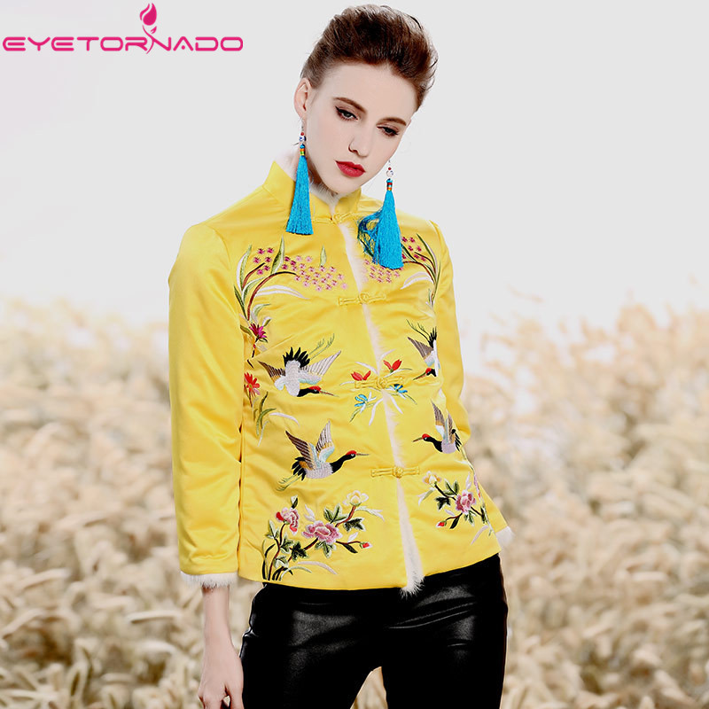 Chinese traditional cheongsam top flower bird embroidery vintage fur cotton parksa top winter oriental national vintage coat