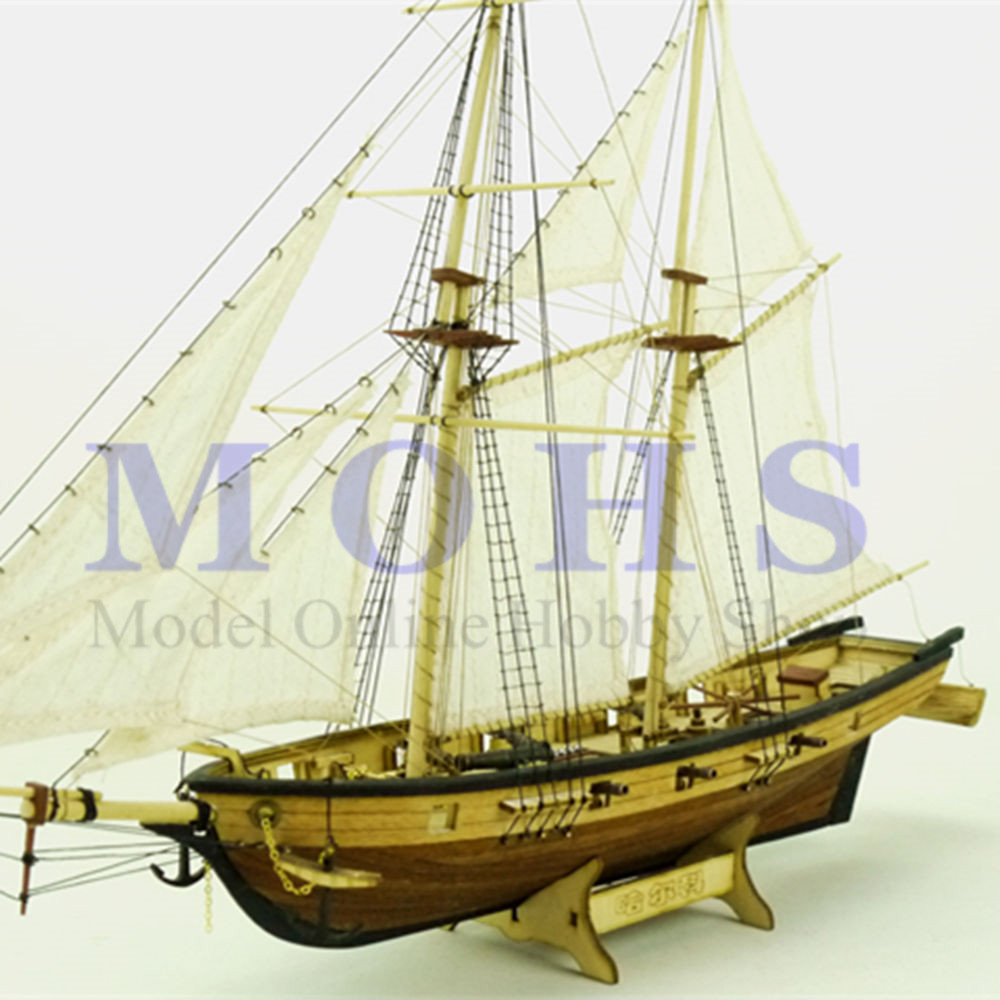 2er Set Fischerschiff- Schiffsmodell Segler Segelboot Holzrumpf und Stoff