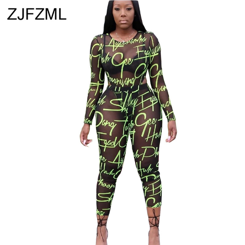 Neon Letter Print Mesh Spliced Two Piece Set Women Long Sleeve See Through Bodysuit And  Skinny Pants Sweat Suits 2 Piece Outfit