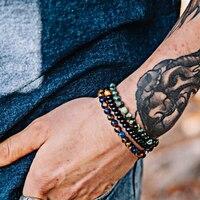 3pcs Set Natural Black Agate Stone Beads Bracelet Men Hematite Beaded Bracelets Yoga Jewelry Bracciali Stone