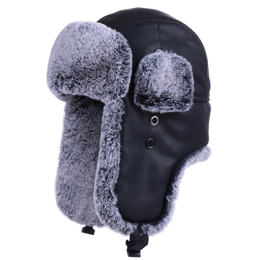 Russian Faux Fur Ushanka Hat Men Winter Warm Pilot Aviator Bomber Trapper Hats PU Leather Snow Ski Cap Ear Flap Hunting Trooper(China)