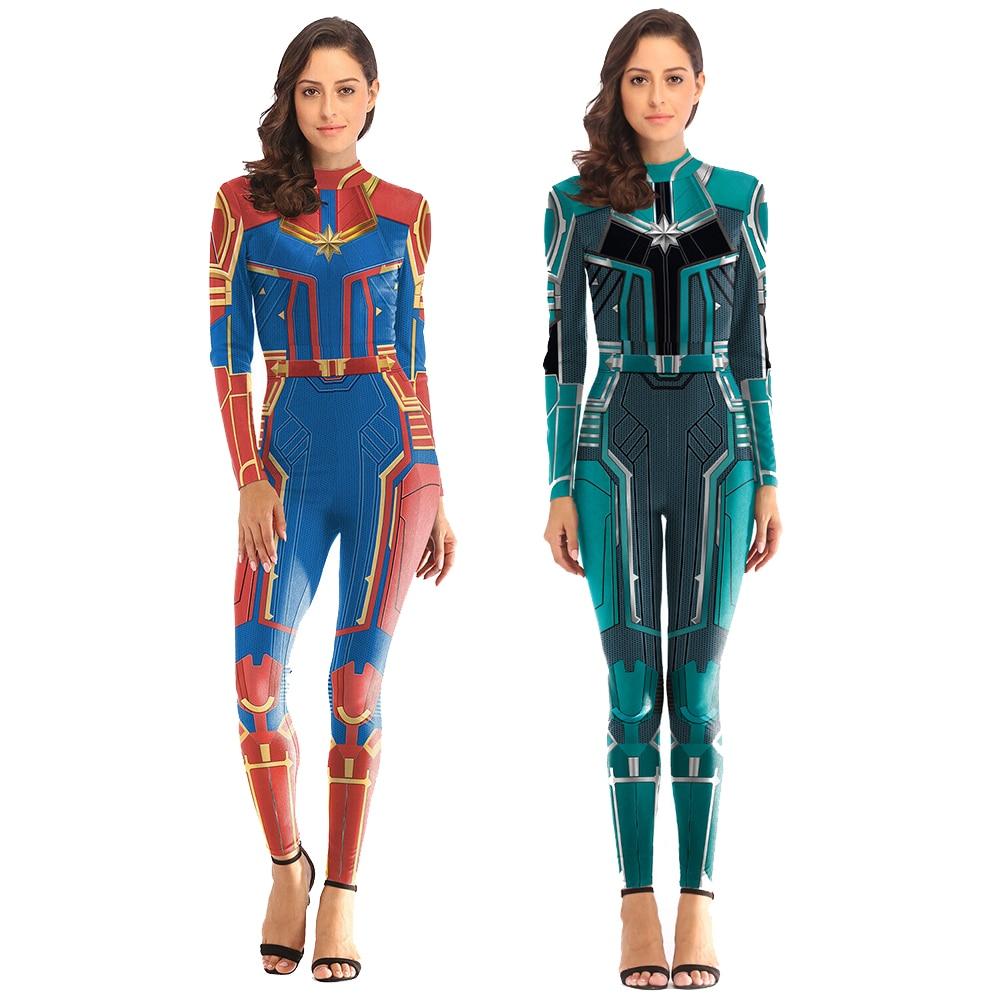 Women Girls Movie Captain Marvel Carol Danvers Cosplay Costume Zentai Superhero Bodysuit Suit Jumpsuits