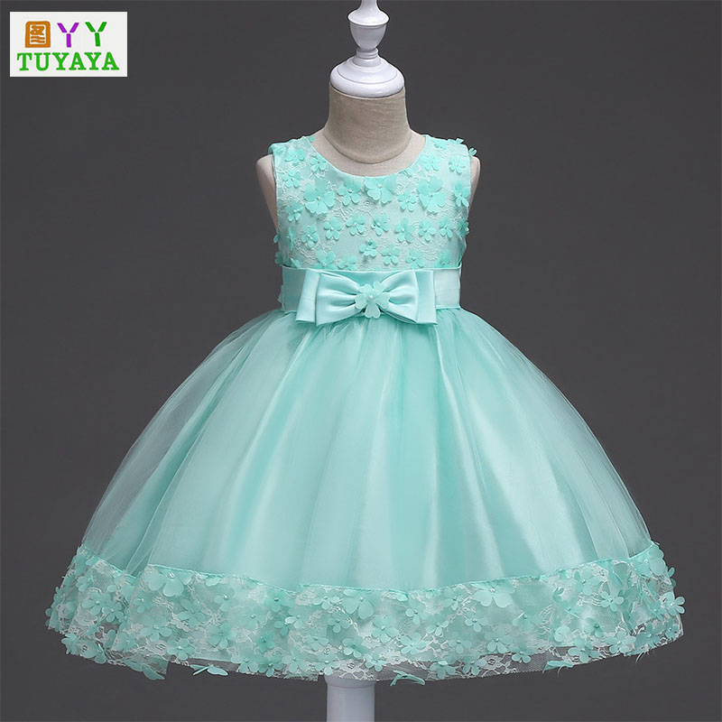 5 Colors Sleeveless Kids Girls Flower Dress Girl Butterfly Birthday Princess Dresses 2018 Children Ball Gown Wedding Party Dress christmas holiday flower girl dress butterfly princess children dresses for party wedding birthday gift