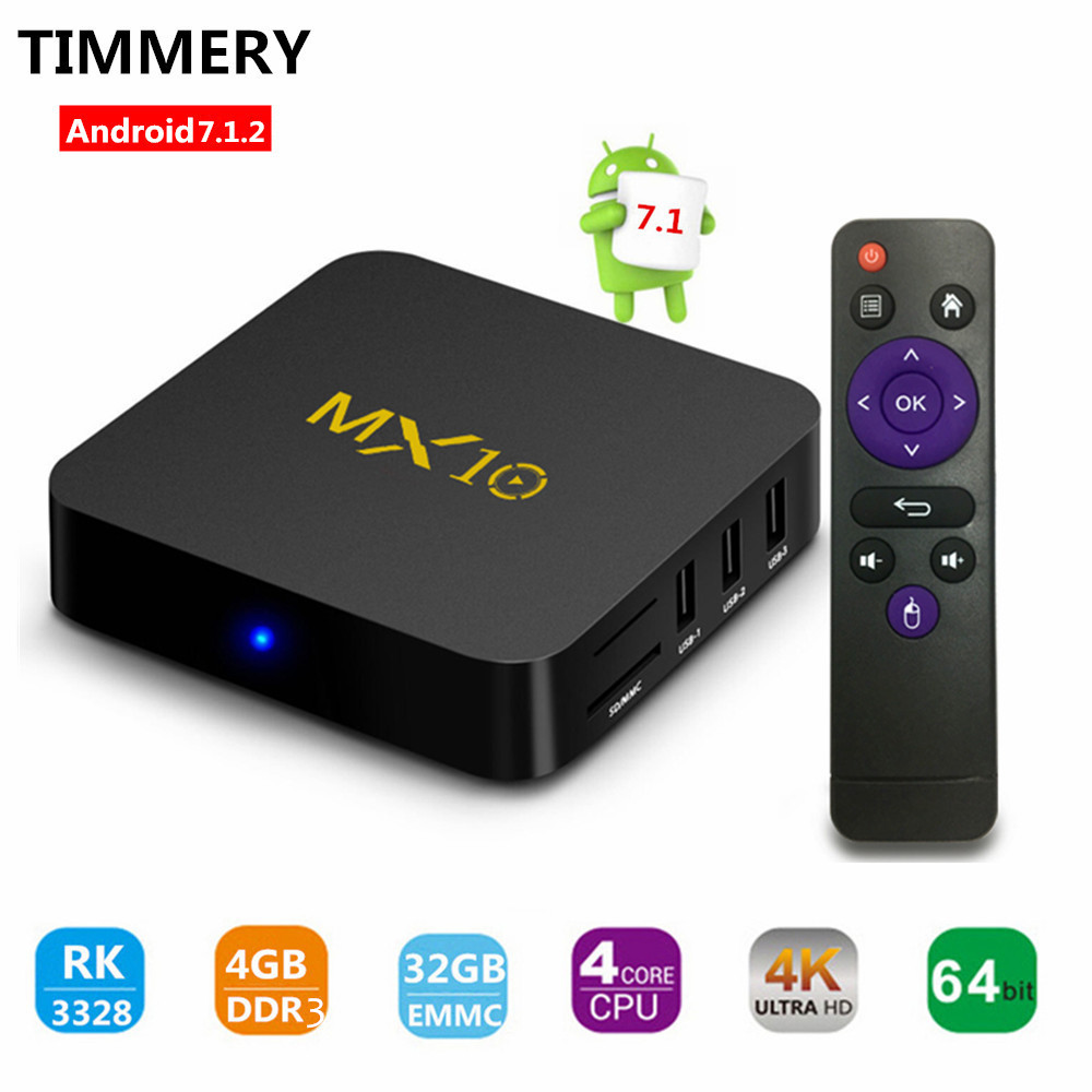 MX10 Android 7.1 TV Box 4GB(DDR3) 32GB, Support 2.4G Wifi Connected 64bit Quad-Core 3D 4K HDR Video Playing set top box