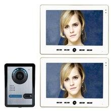 """Freeship 10 """"Casa de Intercomunicación Con Cable 7"""" TFT de Vídeo cámara de vídeo Portero Automático de la puerta sistema de intercomunicación video de la puerta teléfono de casa con 2 monitor"""