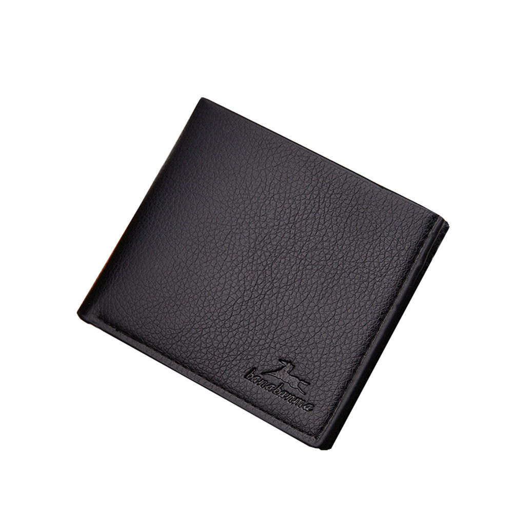 Men Solid Color Vintage Open Card Position Wallet Leather card holder Cash Wallet Purse Documents Case