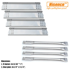 Hisencn BBQ Parts Kit SS Pipe Gas Grill Burner, SS Heat Plate Tent Shield Replacement Kitchen Aid 720-0733A,4 Burner Gas Grill