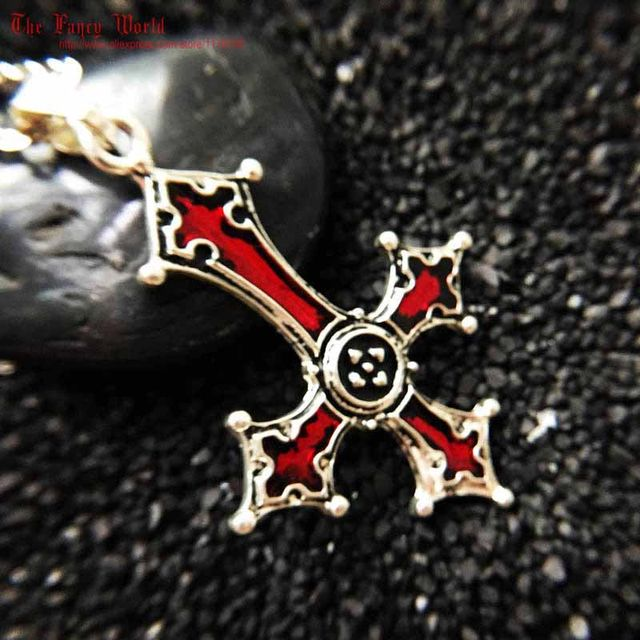 Online shop red bloody inverted cross pendant necklace vintage red bloody inverted cross pendant necklace vintage gothic cross pendant necklace lucifer satan satanic jewelry aloadofball Choice Image
