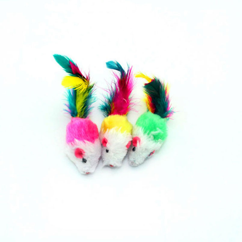 Soft Fleece False Mouse Cat Toys Colorful Feather Funny Playing Toys For Cats Kitten Dog Cats Intelligence Trainning Cat-toys