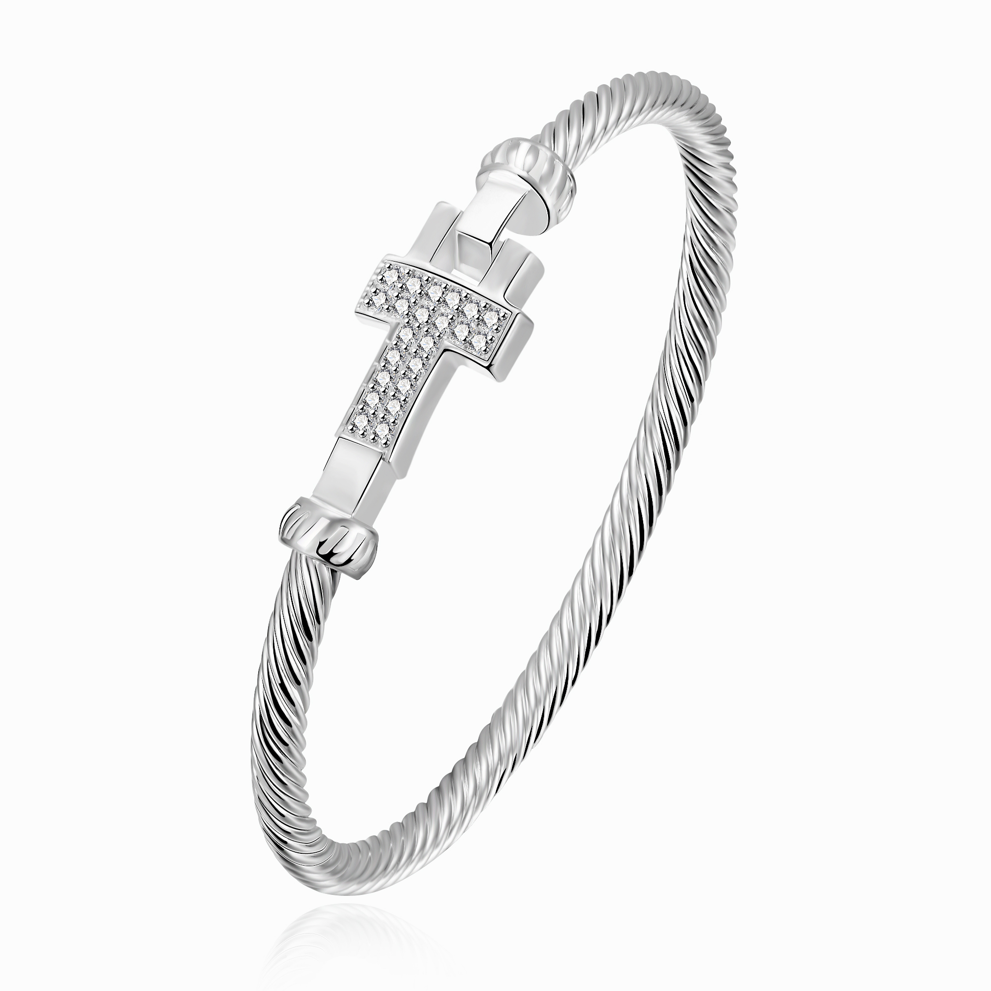 and platinum sterling cubic bangles with crislu zirconia bracelet in cuff silver baubles finish