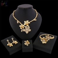 Yulaili Flower Design Fashion Dubai Gold jewelry Set For Women Party