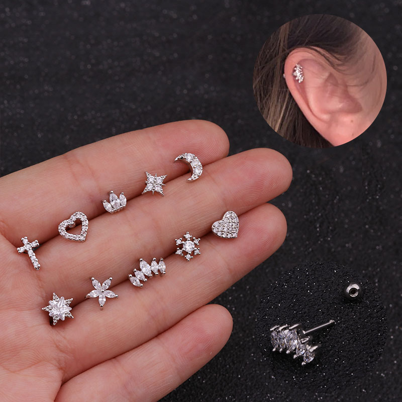 Gold And Silver Color Cz Cartilage Stud Moon Star Heart Cross Flower Crown Helix Piercing Tragus Stud Conch Earring