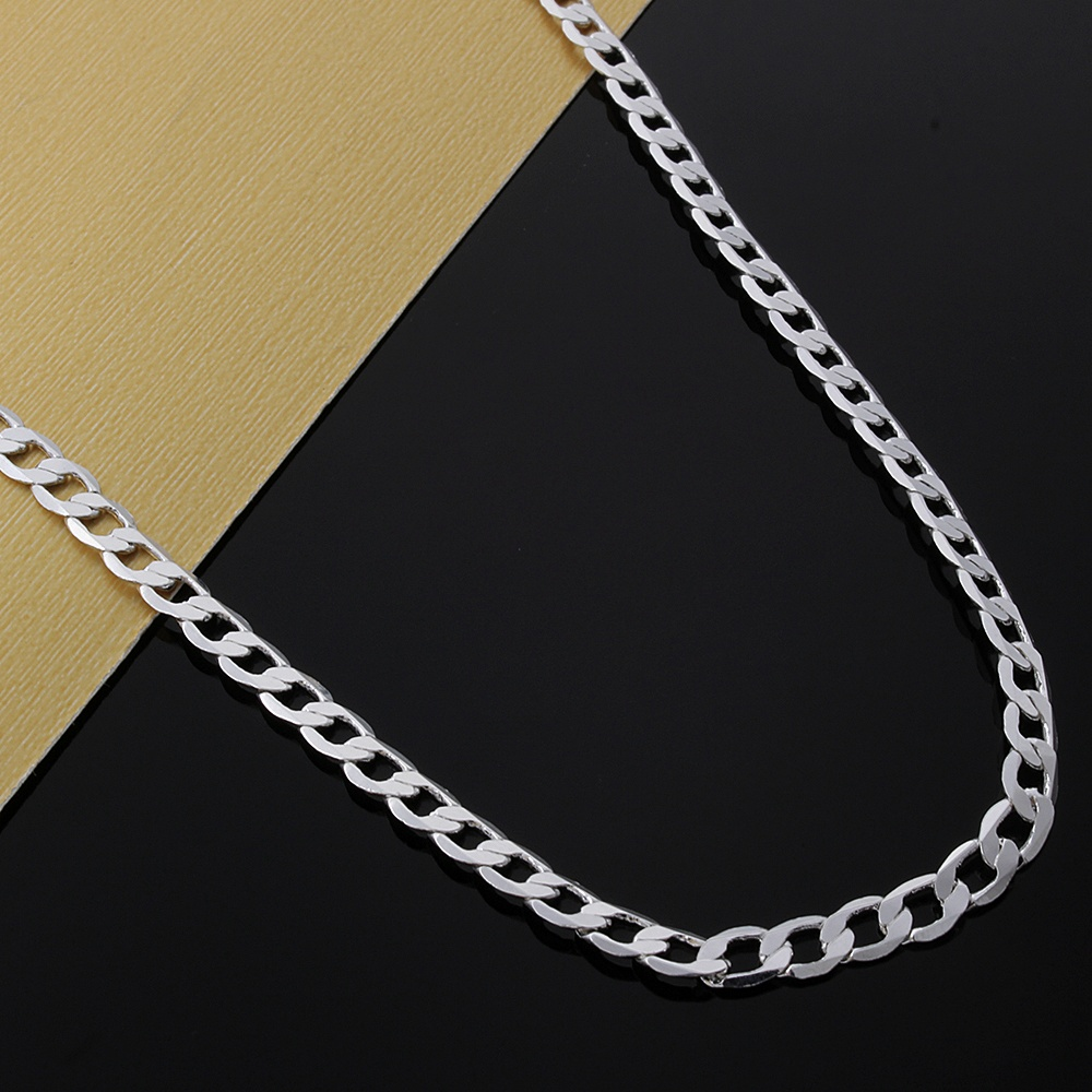 New Listing Hot sell men's silver color 4MM Flat women cute men chain snake Necklace Fashion trends Jewelry Gifts 2