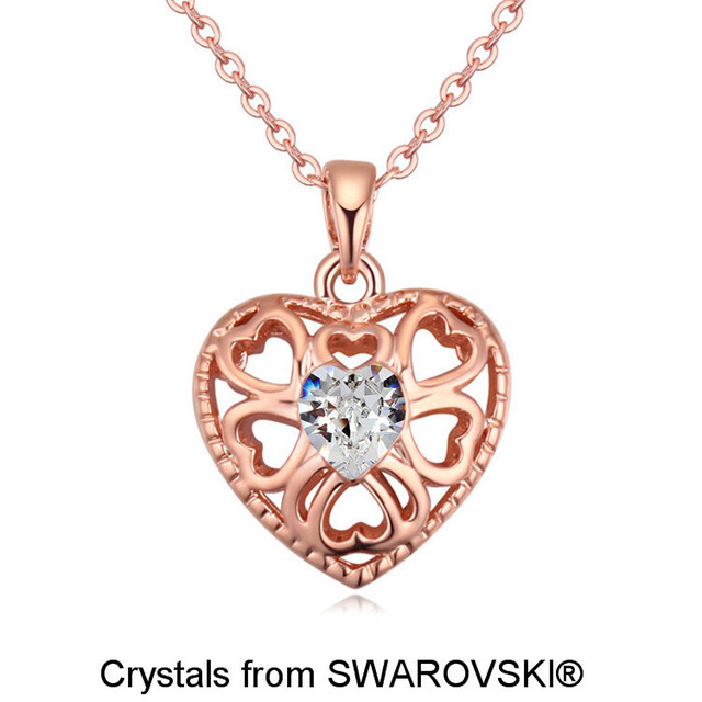 Womens Rose Gold Color Pendant Necklaces Made With SWAROVSKI