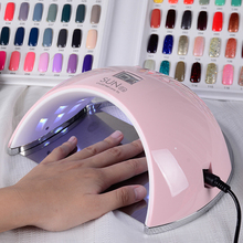Langoa SUN6 48W UV LED Nail Lamp Smart Sensor Nail Dryer for Curing All Gels White with Digital Time Display Nail Art Tool