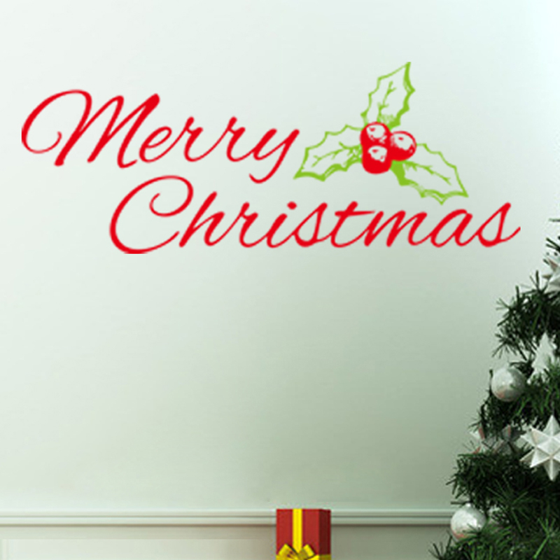 Merry Christmas Wall Stickers Christian Room Home Glass Decorations 22. Diy  Vinyl Xmas Decals Festival Mual Art Posters 5.0 In Wall Stickers From Home  ... Part 83