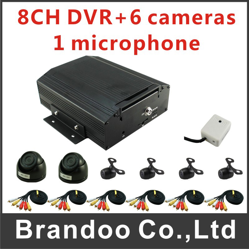 H.264 car video recorder 8 Channel hdd mobile dvr kit with 6pcs analog car camra ...