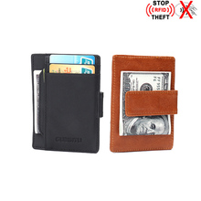 Antitheft Genuine Leather Mini Credit Card Holder Rfid Blocking Case Slim Purse Magnet Money Wallet ID Holders Porte Carte Ba109