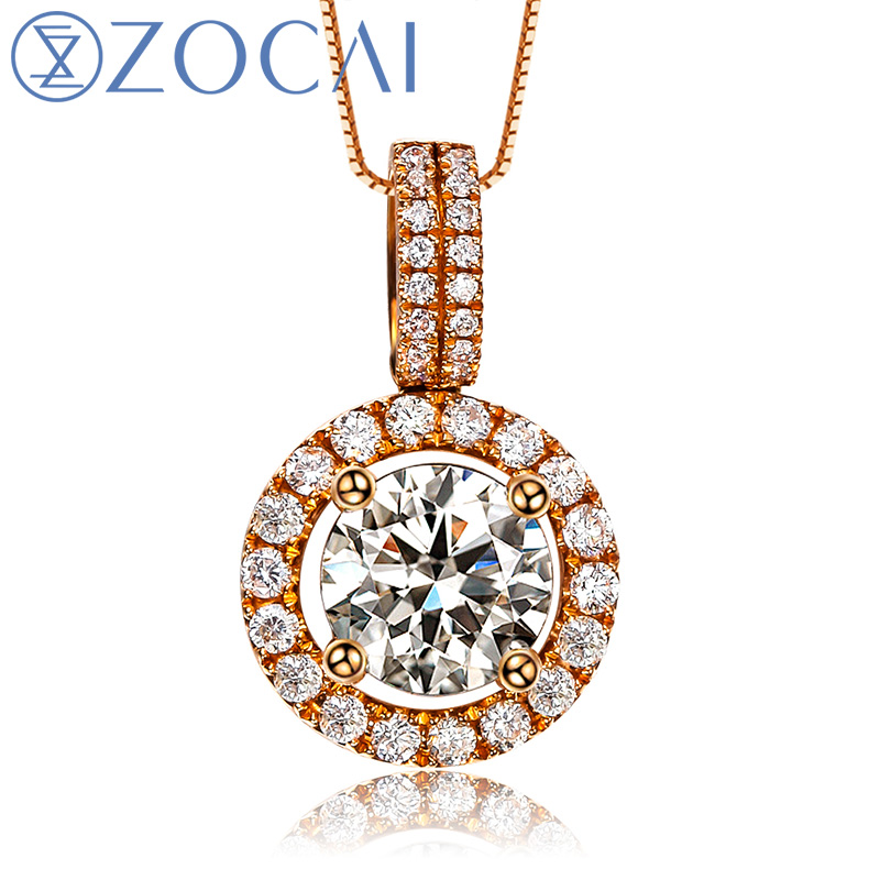 ZOCAI Choker 0.43 CT natural genuine diamond 18K rose gold pendant with 925 silver chain necklace fine jewelry D00597 real 18k rose gold 1 2 carat ct def color lab grown moissanite diamond pendant necklace chain for women charm jewelry