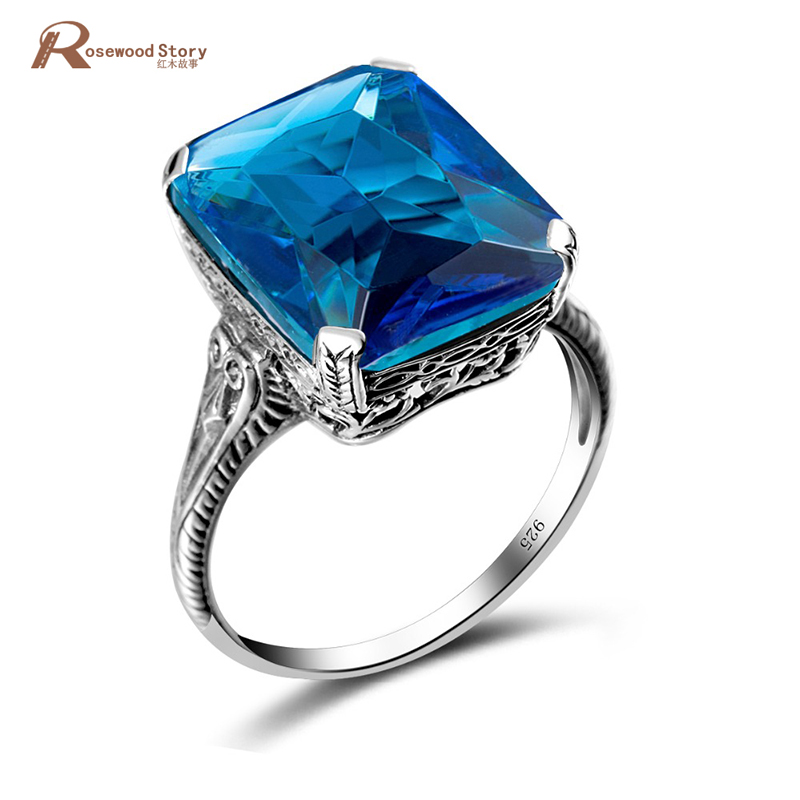 Vintage Exaggerated Rings For Women Handmade Moonlight Blue Crystal Pure 925 Sterling Silver Female Ring Party Fashion Jewelry