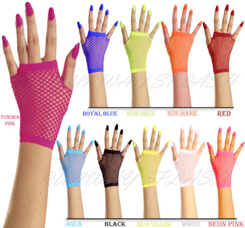 New Women Girls Mesh Gloves Short Wrist Gothic Punk Rock Costume Fancy Party Brides Mesh Fingerless Gloves