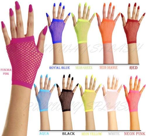 New Women Girls Mesh Gloves Short Wrist Gothic Punk Rock Costume Fancy Wedding Party Brides Mesh Fingerless Gloves