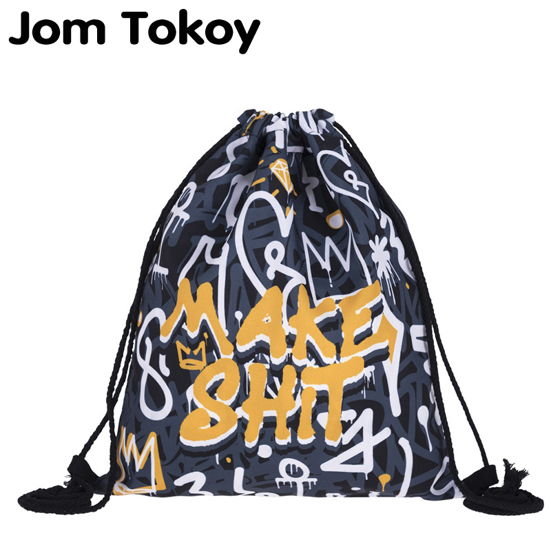 New Fashion Women ORANGE GRAY GRAFFITI Drawstring Backpack 3D Printing Travel Softback Women Mochila Drawstring Bags