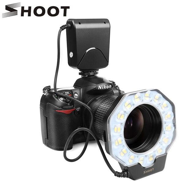 SHOOT Led Macro Ring Flash Light for Nikon D5300 D3400 D7200 D750 D3100 Canon 1300D 6D 5D Olympus e420 Pentax K5 K50 Dslr Camera