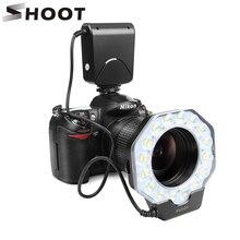 Strzelać Led makro pierścień latarka dla Nikon D5300 D3400 D7200 D750 D3100 Canon 1300D 6D 5D produktu firmy Olympus e420 Pentax K5 K50 lustrzanka cyfrowa