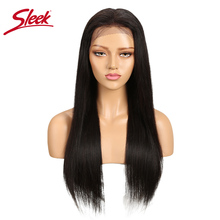 Sleek Lace Front Human Hair Wigs For Black Women Natural Color Brazili