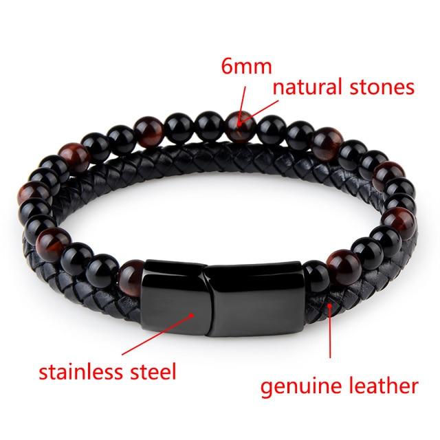 Natural Stone + Genuine Leather Bracelet 6