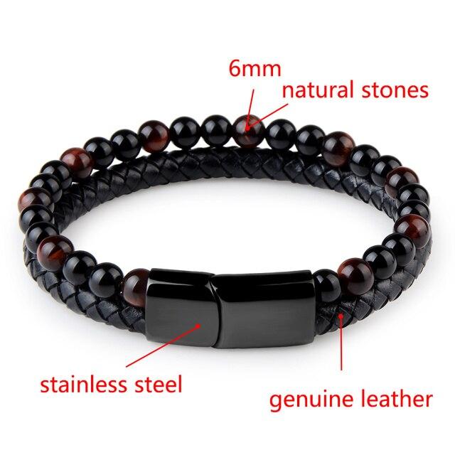 2020 Fashion Men Jewelry Natural Stone Genuine Leather Bracelet Black Stainless Steel Magnetic Clasp Tiger eye Bead Bracelet Men