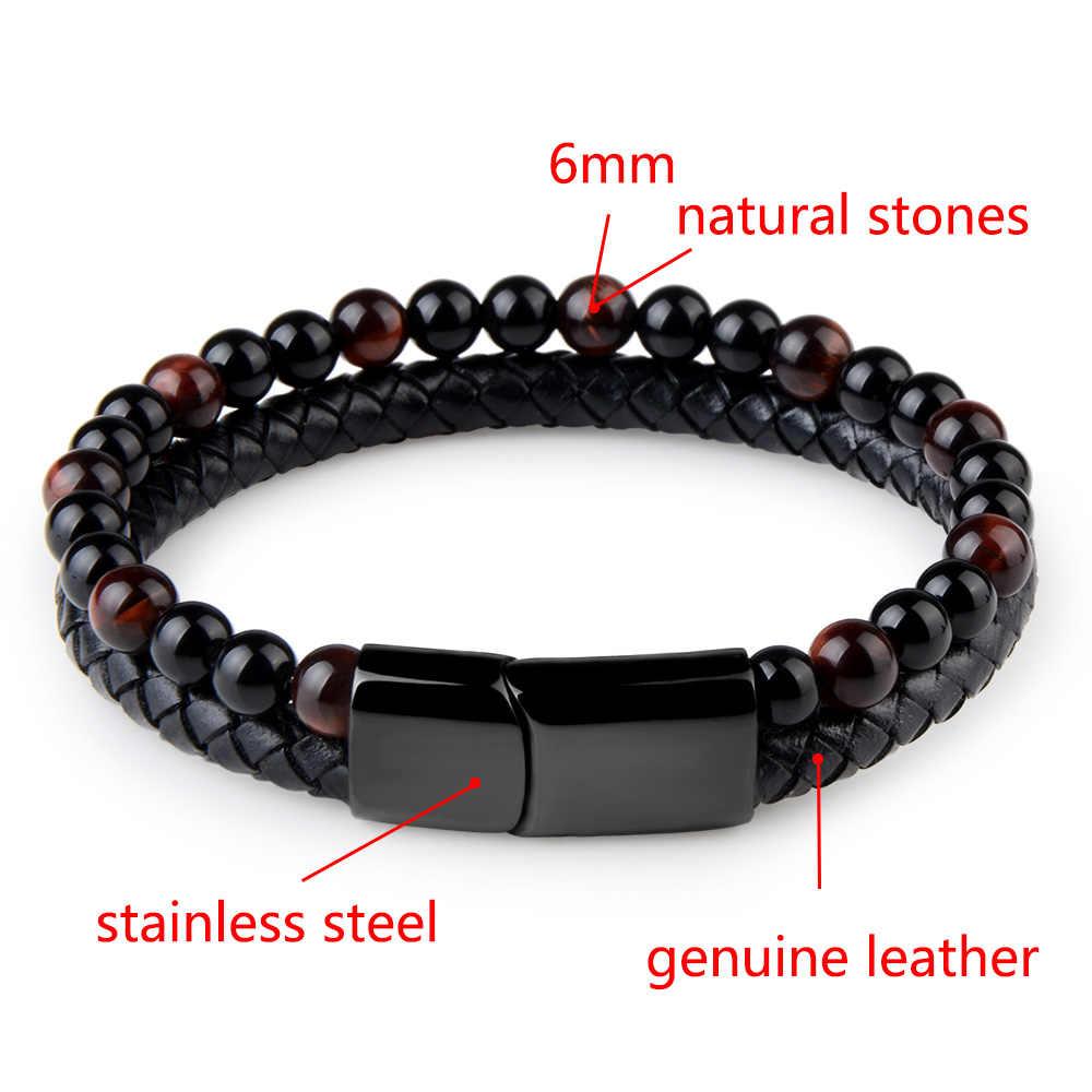 2020 אופנה גברים תכשיטים טבעי אבן אמיתי עור צמיד שחור נירוסטה מגנטי אבזם נמר עין חרוז צמיד גברים