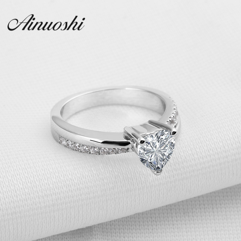 AINUOSHI Wedding Jewelry Solid 925 Sterling Silver Rings for Women Heart Cut Sona Synthetic Wedding Ring