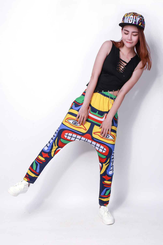 Adlut Kids Multi colour Symmetry Sweatpants Cinco de Mayo Costumes Panelled Jamaica Totem performance  harem Hip Hop Dance pants 1