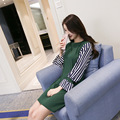 2017 maternity dress spring and summer pregnant women dress long code long green color striped dress