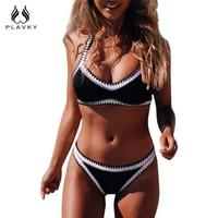 PLAVKY 2018 Sexy Đen Trắng Sọc Băng Tóc Biquini Bơi Mặc Đồ Tắm Phù Hợp Với Áo Tắm Cộng Với Kích Thước Quần Áo Bơi Phụ Nữ Mặc Bikini Brazil