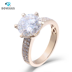 DovEggs 14K Yellow Gold 3 Carats 9mm F Color Moissanite Solitaire Engagement Ring for Women Weddings