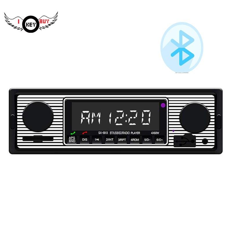 I Key Buy Bluetooth Vintage Vehicle Car Radio MP3 Player Stereo USB AUX Classic Black Car Stereo Audio 1PC
