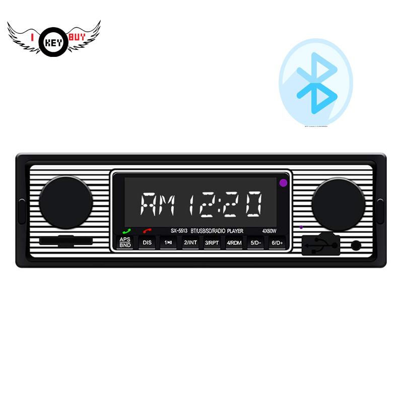 I Key Buy Bluetooth Vintage Vehicle Car Radio MP3 Player Stereo USB AUX Classic Black Car Stereo Audio 1PC image