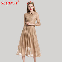 Dignified Lace Dress Women 2018 Spring High End Apricot Black Turn Down Collar Zipper 3 4