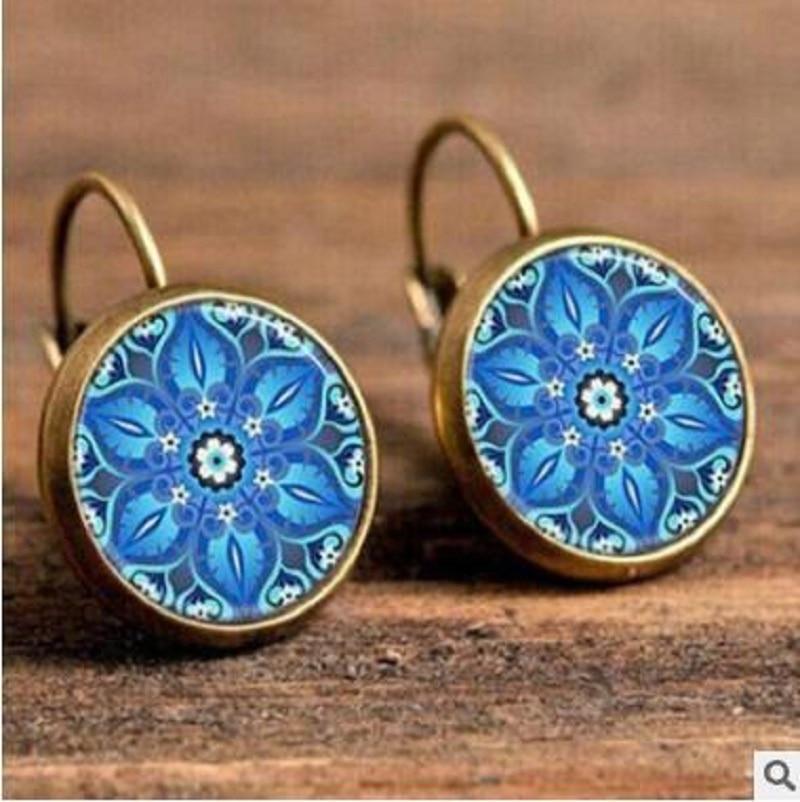 Exknl Boho Flower Drop Earrings For Women Vintage Jewelry Geometric Pattern Round Earings Bijoux boucles d'oreilles bohemia 6