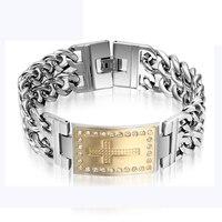 New Hot Sale Fashion Fine Jewelry CZ Diamonds Cross Chain Men's 316 Titanium Steel Bracelets & Bangles For Men/boy