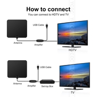Flat HD TV Amplified Digital Indoor Antenna High Gain HDTV 80 Miles Range ATSC DVB ISDB with Detachable Signal Amplifier EU Plug