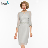 Dressv Knee Length Scoop Neck Mother Of Bride Dress With Half Sleeves With Jacket Appliques Long