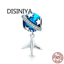 WOSTU Real 925 Sterling Silver Dream of Traveling Airplane Cute Beads fit original Charm Bracelet Necklace Jewelry Gift CQC887