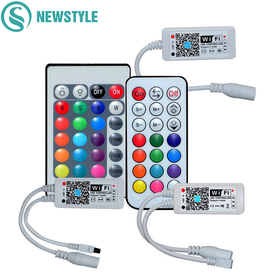 DC12V Mini Smart RGB RGBW WiFi Music LED Controller 21Key RF Remote Control For RGB RGBW LED Strip Lights With IOS Android APP image