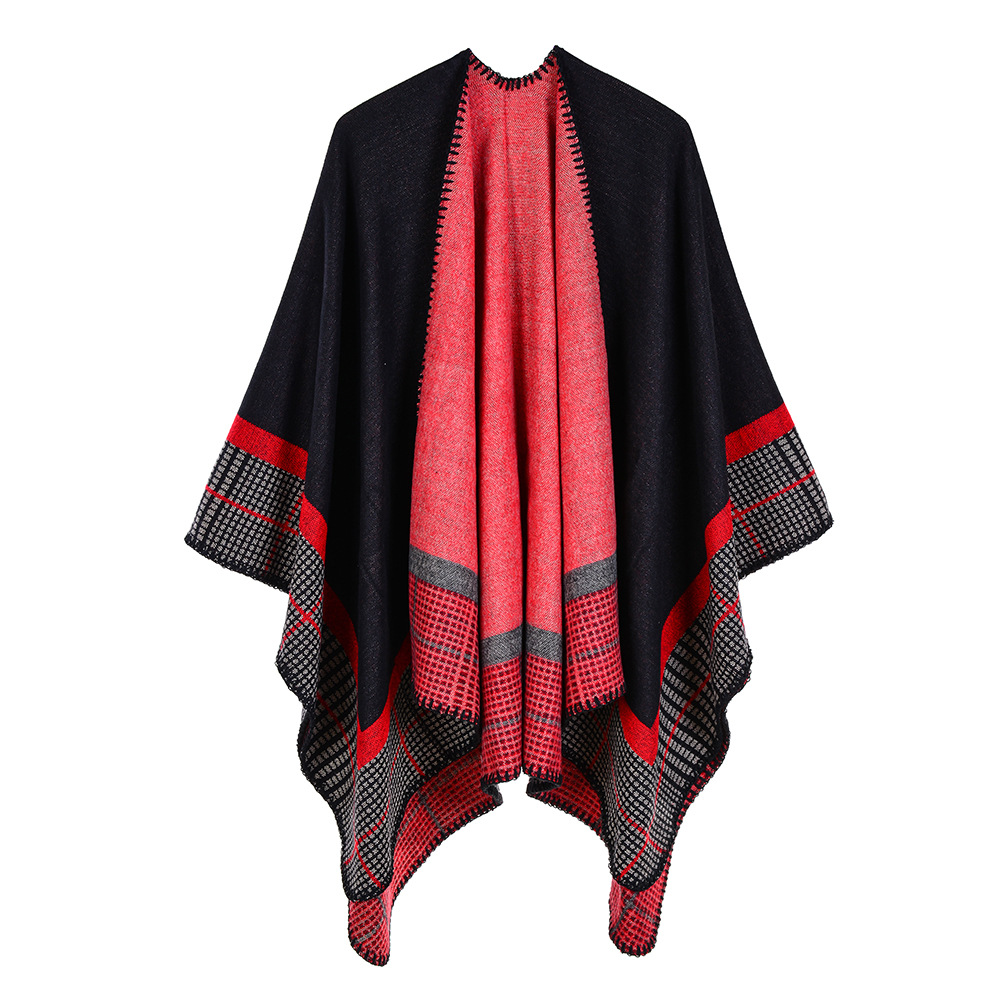 Quality Guarantee Oversized Reversible Reversed Women Winter Knitted Cashmere Poncho Capes Shawl Cardigans Sweater Coat