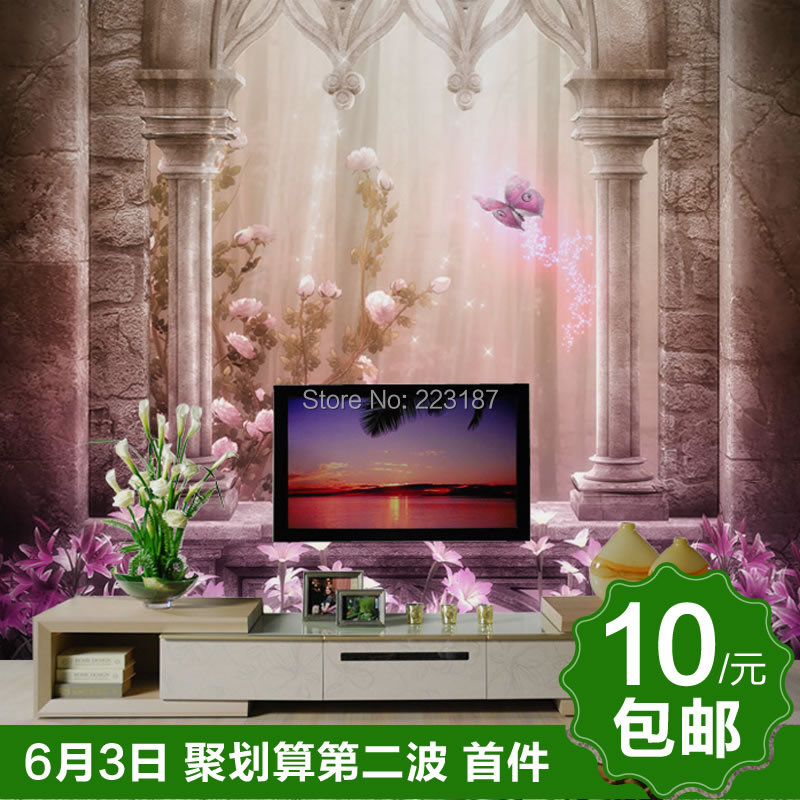 Can be customized large mural wall stickers wall paper Wallpaper mural fashion tv Fairy tale dream castle children room bedroom