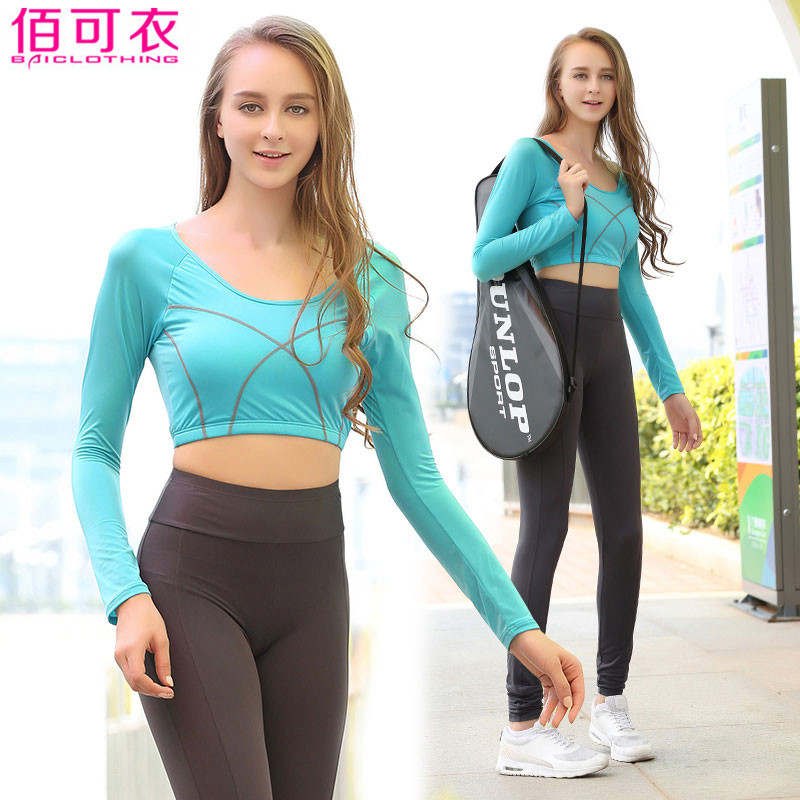 ФОТО Women's sports suit 2 piece crop top long sleeve T-shirt yoga set fitness training clothing for sport breathbale high quality